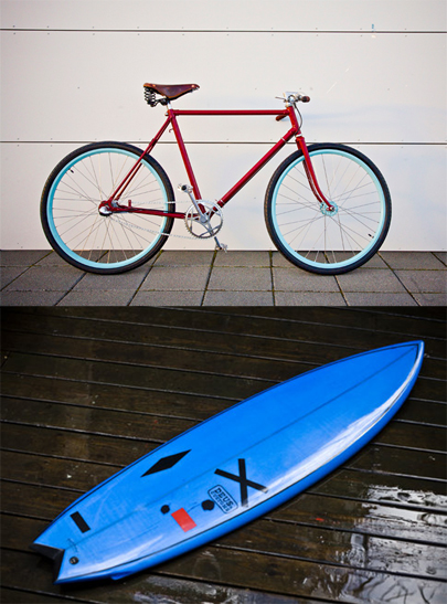 A surfboard and a bicycle, our Spring dream