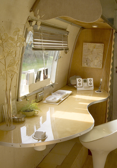 Interior of Silver Trailer with Kristiana Spaulding