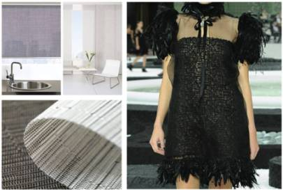 left: Chilewich materials via The Shade Store; right: Chanel Dress via The Architect\'s Newspaper Blog