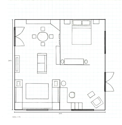 floor plan of garage conversion