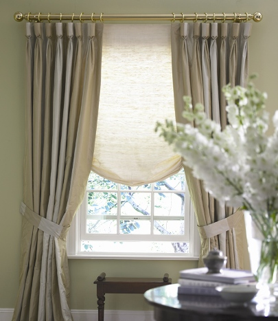 Raw Silk window treatments, Ivory