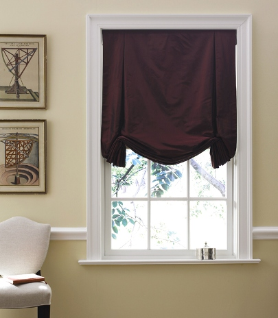 Tulip Roman Shade, Silk window Treatments