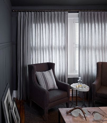 drapery in living room, for Rue Magazine