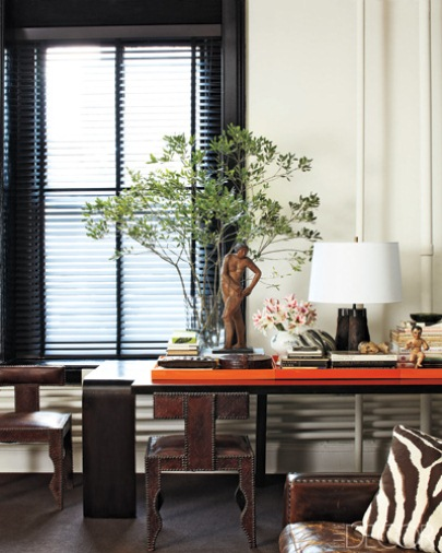 Shoe designer, William Frawley's Soho Loft / image via elledecor.com, with Wood blinds
