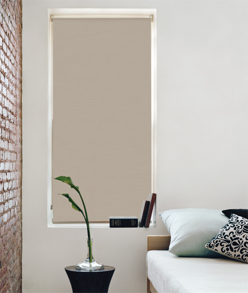Blackout Roller Shades from The Shade Store, in Hudson Parchment