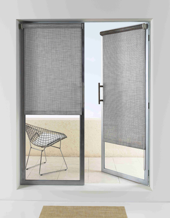 Design ideas door window treatments the shade store for Door roller blinds