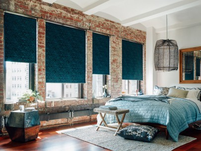 Roller Shade in Plume Teal.