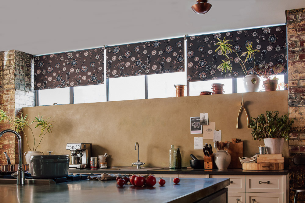 Roller shades in the kitchen.