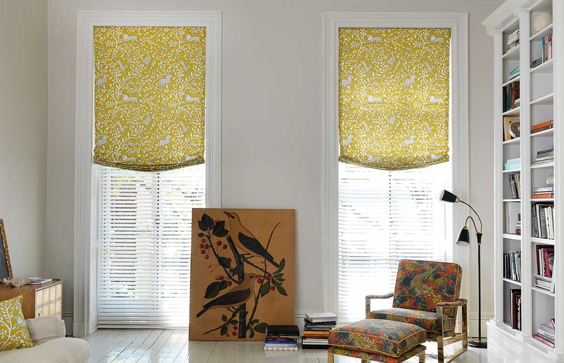 relaxed roman shades yellow