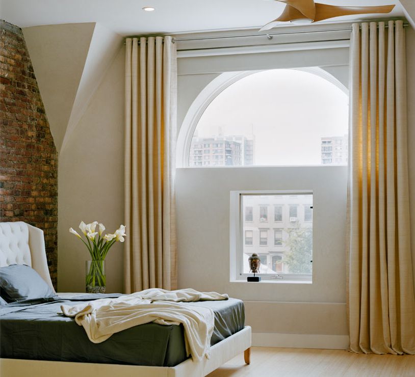 curtains over arched windows