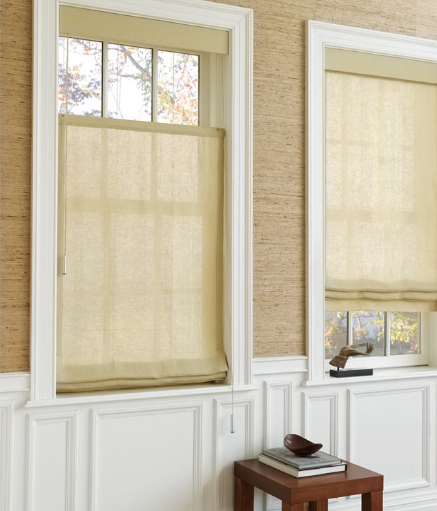 linen window shades double layer linen roman shades cascade archives the shade store