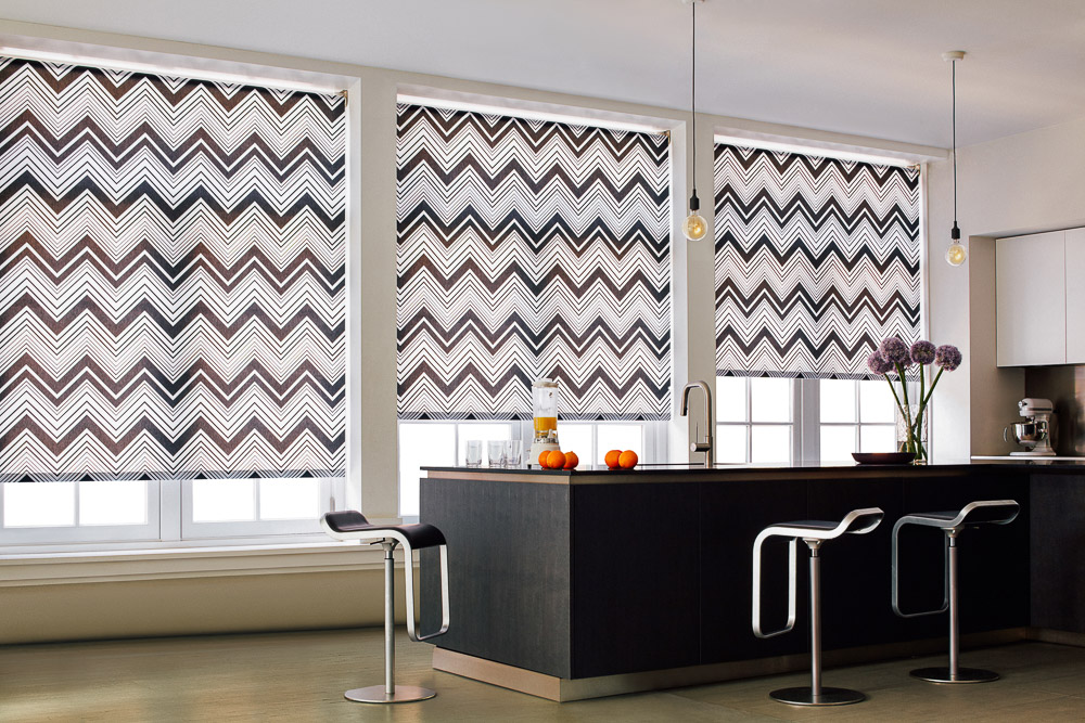 black and white roller shades large windows