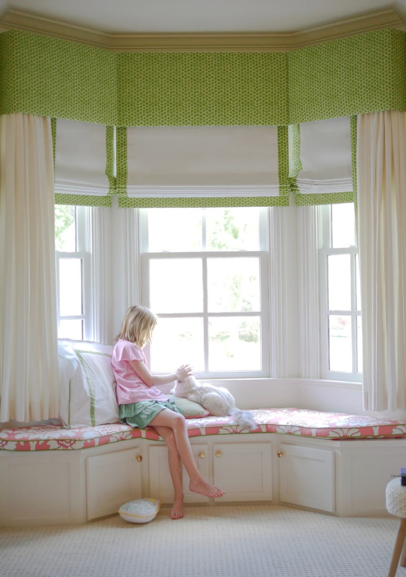 green and white custom window treatments