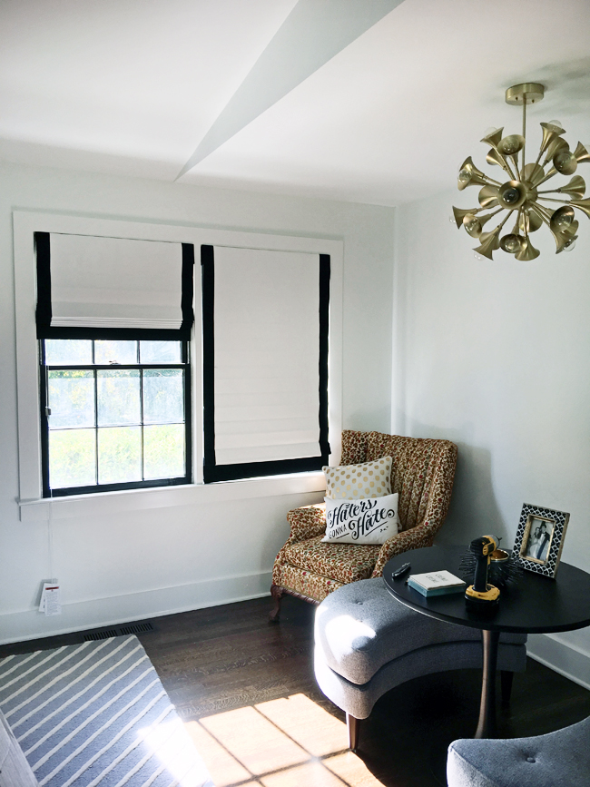 black and white roman shades
