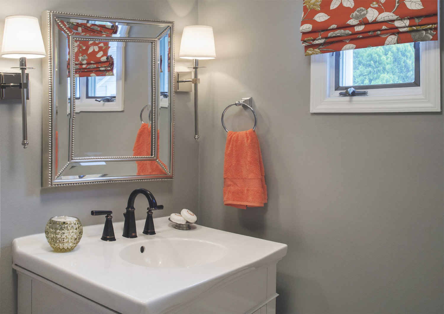 property brothers gray bathroom orange roman shade