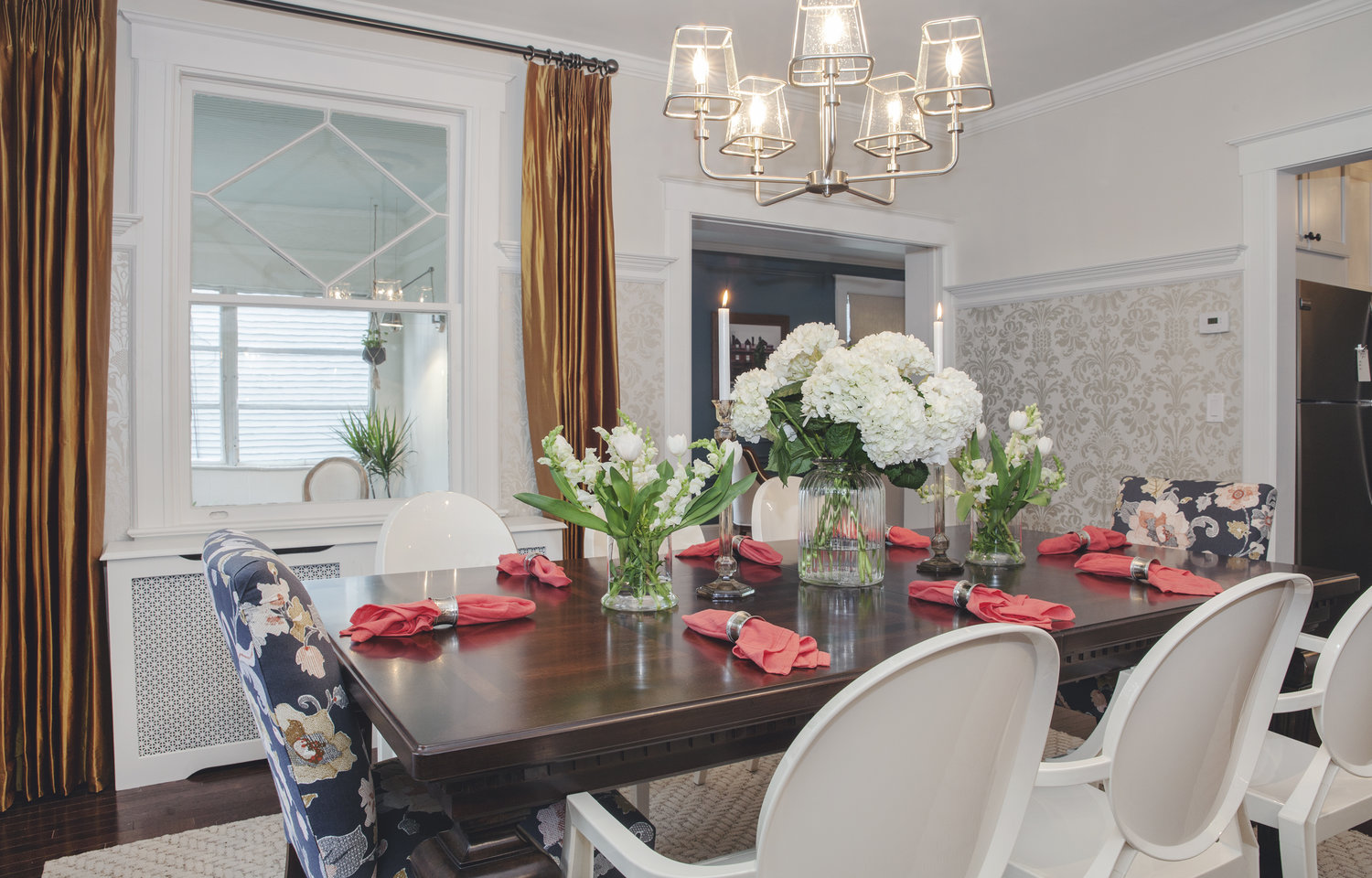 property brothers traditional dining room pinch pleat drapes