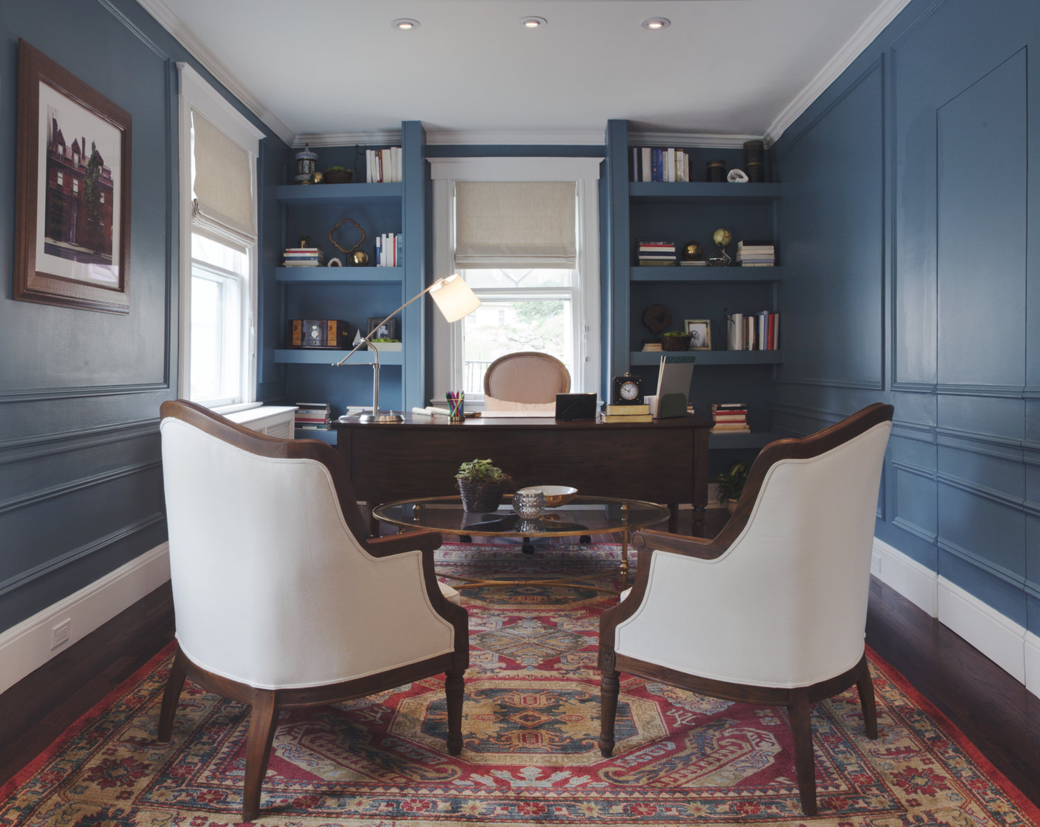 blue home office flat roman shades