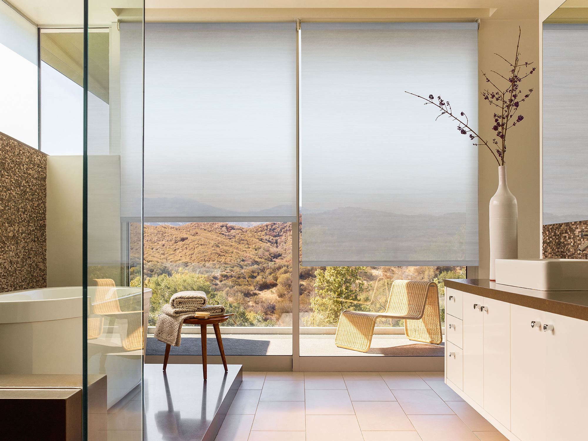 bathroom window treatments roller shades
