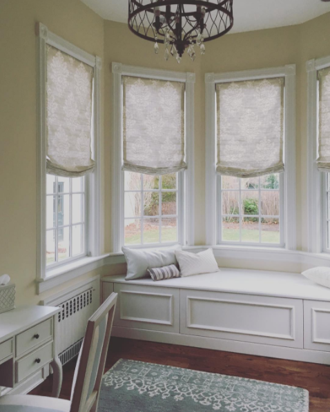 relaxed roman shades bay window