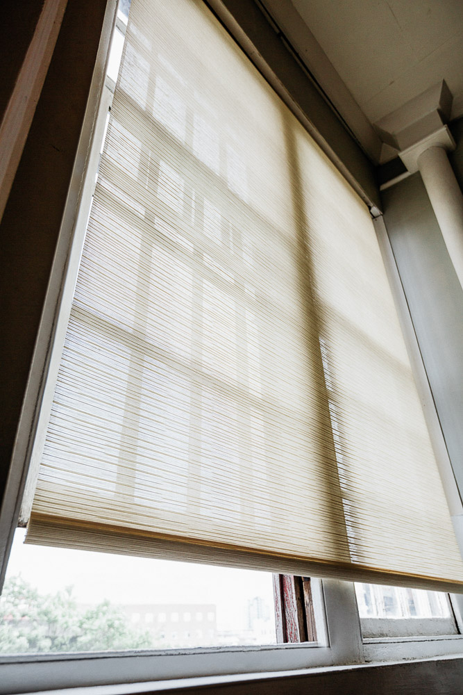 white roller woven wood shades