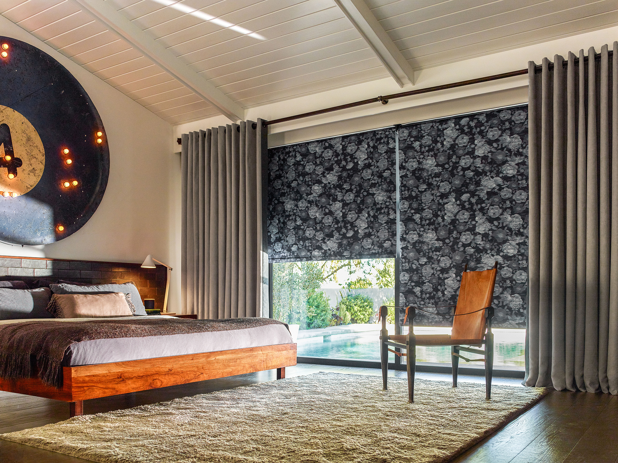 black roller shades bedroom