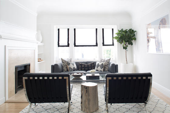 black and white cascade roman shades living room