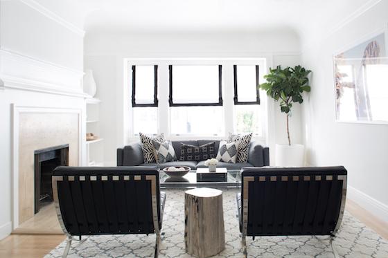 Black And White Cascade Roman Shades Living Room
