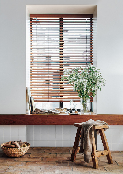 wood blinds with white decor