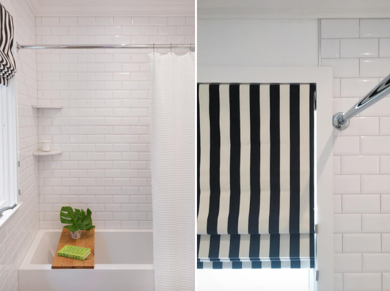 black and white striped roman shade bathroom