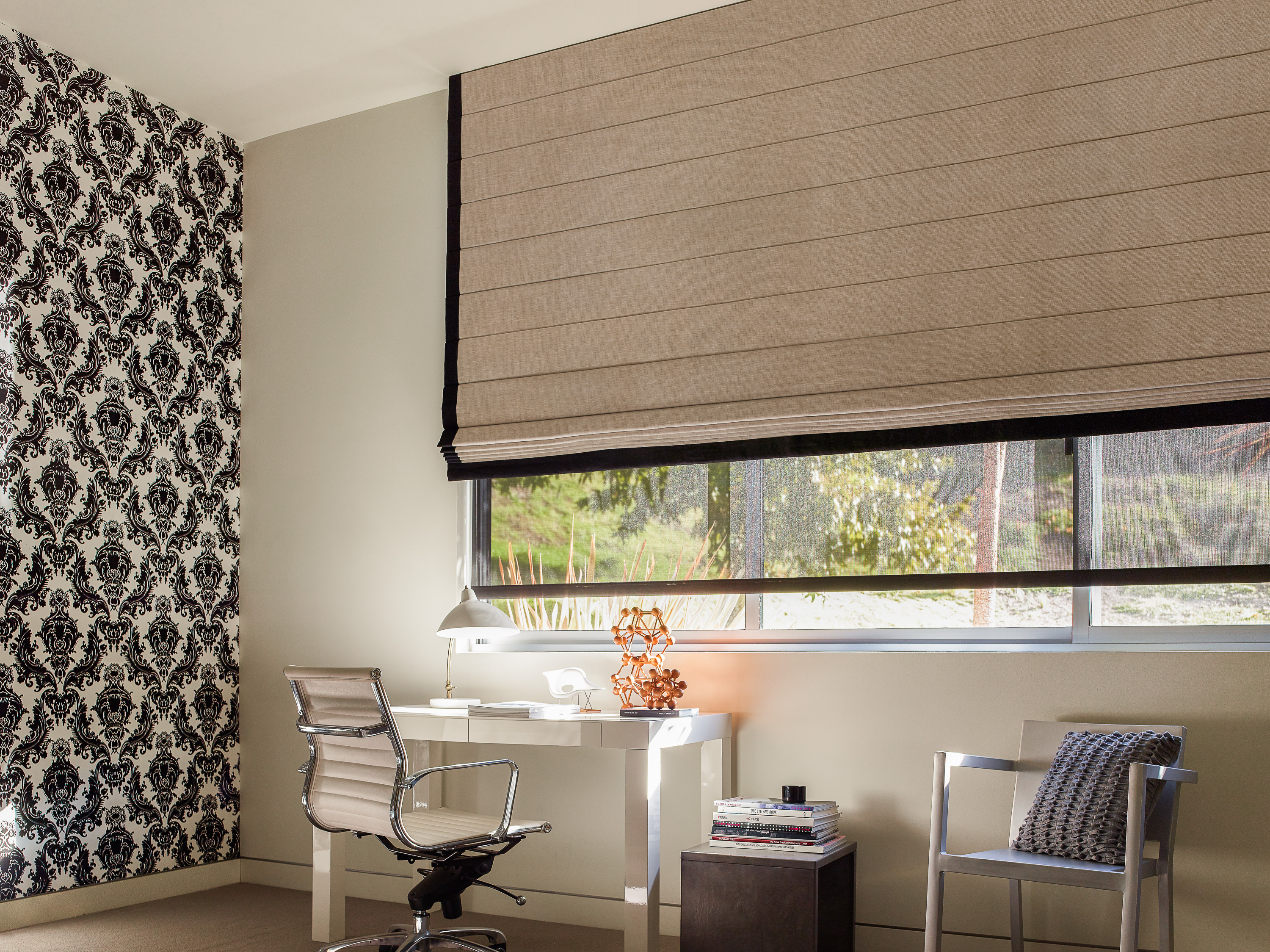home office window treatments roman shades