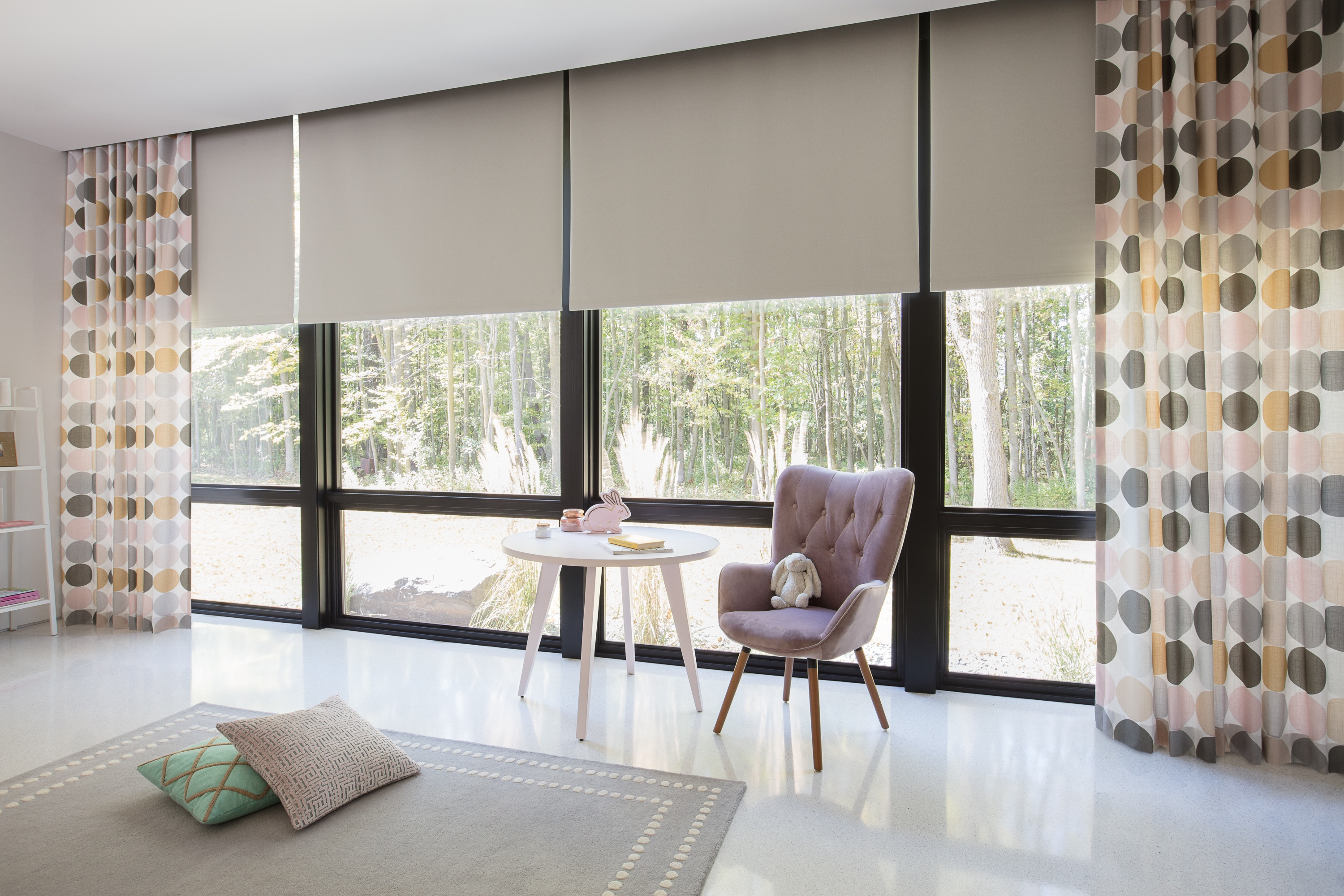 Roller Shades - Blackout - Hudson - Cream Drapery - The Novogratz - Colored Dots - Mink